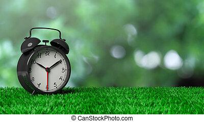 zegar, alarm, bokeh, zielony, retro, tło, trawa, abstrakcyjny