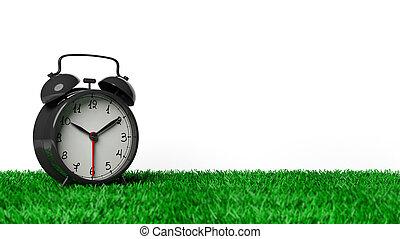 zegar, alarm, odizolowany, trawa, tło., czarnoskóry, retro, biały