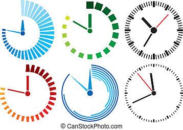 zegar, (clock, set), ikony