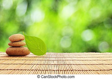 zen, kamień, liść