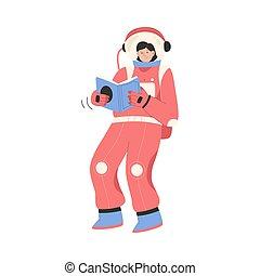 zerowa powaga, czytanie, samica, przelotny, astronauta, książka