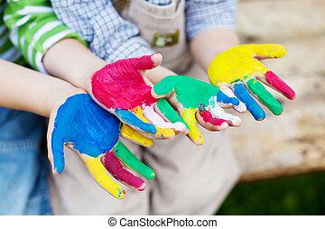 zewnątrz, interpretacja, dzieci, barwny, siła robocza