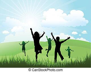 zewnątrz, słoneczny, interpretacja, dzień, dzieci