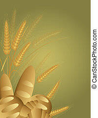 ziarno, chleby, pszenica, ilustracja, nóżki