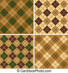 zieleń-brunatna, próbka, argyle-plaid