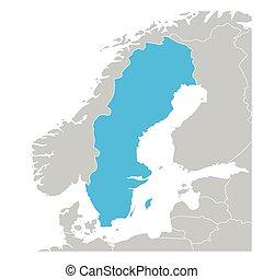 zielona mapa, highlighted, szwecja, kraje, sąsiad