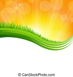 zielona trawa, błyszczący, tło