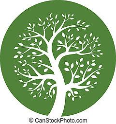 zielone drzewo, okrągły, ikona