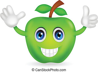 zielone jabłko, rysunek