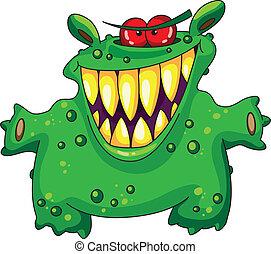 zielony, śmiech, potwór