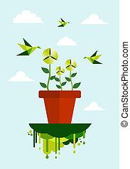 zielony, środowisko, czysty, pojęcie, energia
