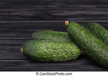 zielony, świeży, stos, cucumbers.