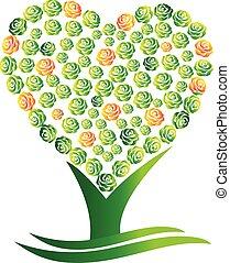 zielony abstrakt, wektor, drzewo, serce