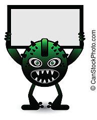 zielony, chorągiew, potwór