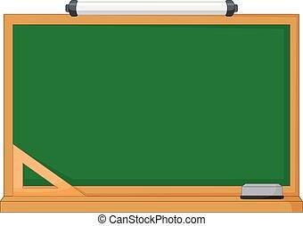 zielony, drewno, chalkboard, wektor, ułożyć, ilustracja
