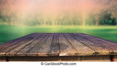 zielony, drewno, stary, struktura, stół
