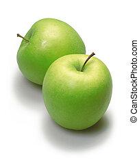 zielony, dwa, jabłka
