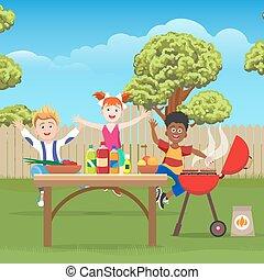 zielony, dzieciaki, piknik, ogród