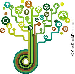 zielony, ekologiczny, drzewo, ikony