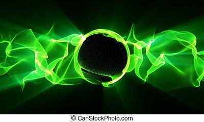 zielony, elektryczny, machać
