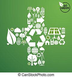 zielony, formułować, plus, tło, ikony