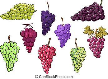 zielony, grona, winogrona, czerwony