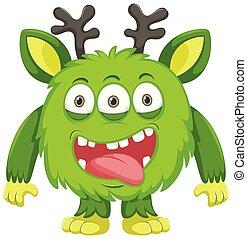 zielony, jeleń, potwór, róg
