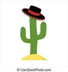 zielony, kaktus, sombrero, meksykański kapelusz