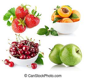 zielony, komplet, liść, owoc, świeży