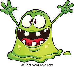 zielony, kropelka, potwór