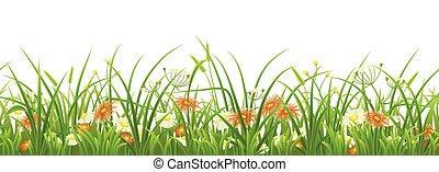 zielony, kwiaty, trawa, seamless