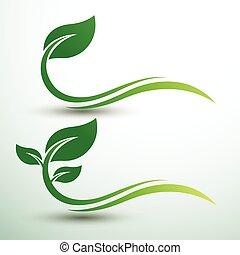 zielony liść, etykiety