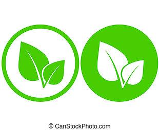zielony liść, ikony