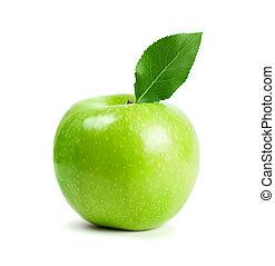 zielony liść, jabłko, owoce