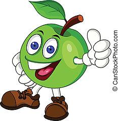 zielony, litera, jabłko, rysunek