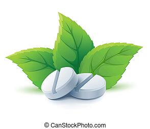 zielony, medyczny, kasownik, liście, pigułki