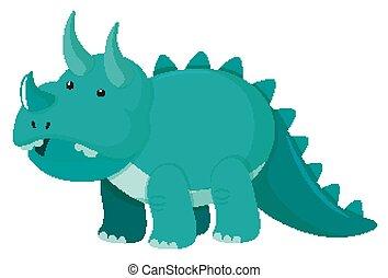 zielony, obraz, jednorazowy, triceratops