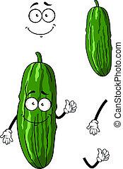 zielony, ogórek, rysunek, szczęśliwy