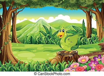 zielony, pniak, ptak, nad, las