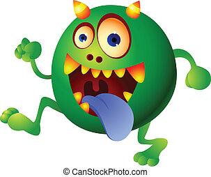 zielony potwór, rysunek