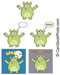 zielony potwór, zbiór, rogaty