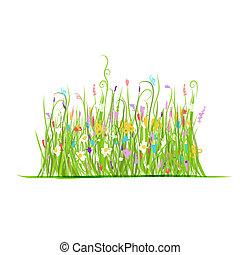 zielony, projektować, łąka, twój