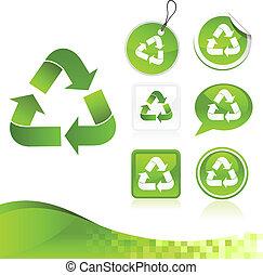 zielony, recycling, projektować, zestaw