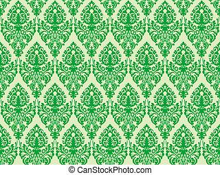 zielony, seamless, struktura, adamaszek