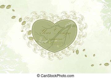 zielony, serce, leaf.