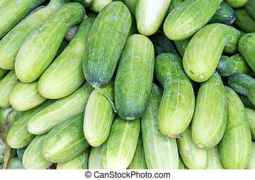 zielony, stos, ogórki, świeży