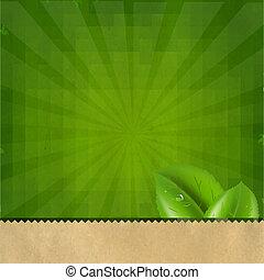 zielony, sunburst, retro, struktura, tło
