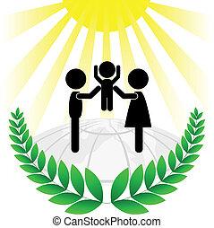 zielony, sylwetka, rodzina, f