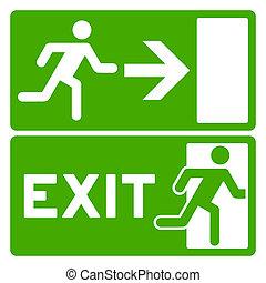 zielony, symbol, wyjście