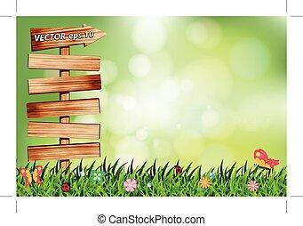 zielony, szablon, ilustracja, kasownik, wektor, projektować, drewno, szyld, tło
